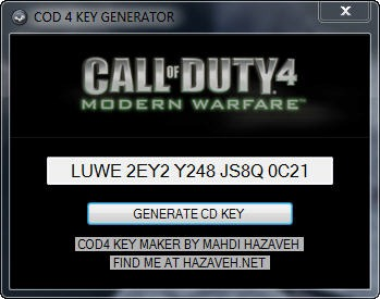 Free call of duty 4 key code generator hillkiller.